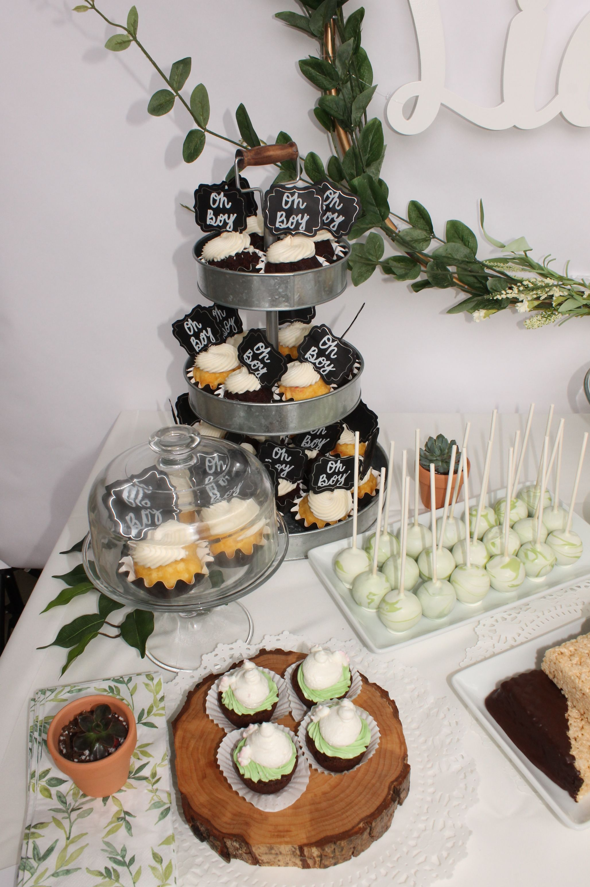 Dessert Table Green And White Woodland Theme Dessert Table Table Decorations Woodland Theme