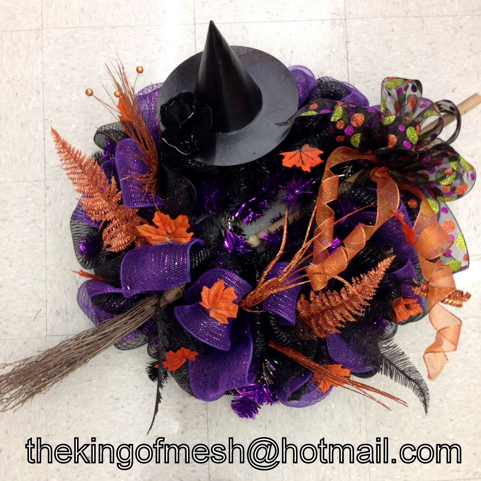 Let's get ready for #Halloween, create your own mesh wreath or order yours at: thekingofmesh@hotmail.com - Introducing my newest #meshwreath from latest #witch collection. I got all my supplies at @MichaelsStores #craftssupplies #decomesh #custom #mesh #michaelsstores @thekingofmesh #homedecor #polydecomesh #hat #broom #fun #colourful