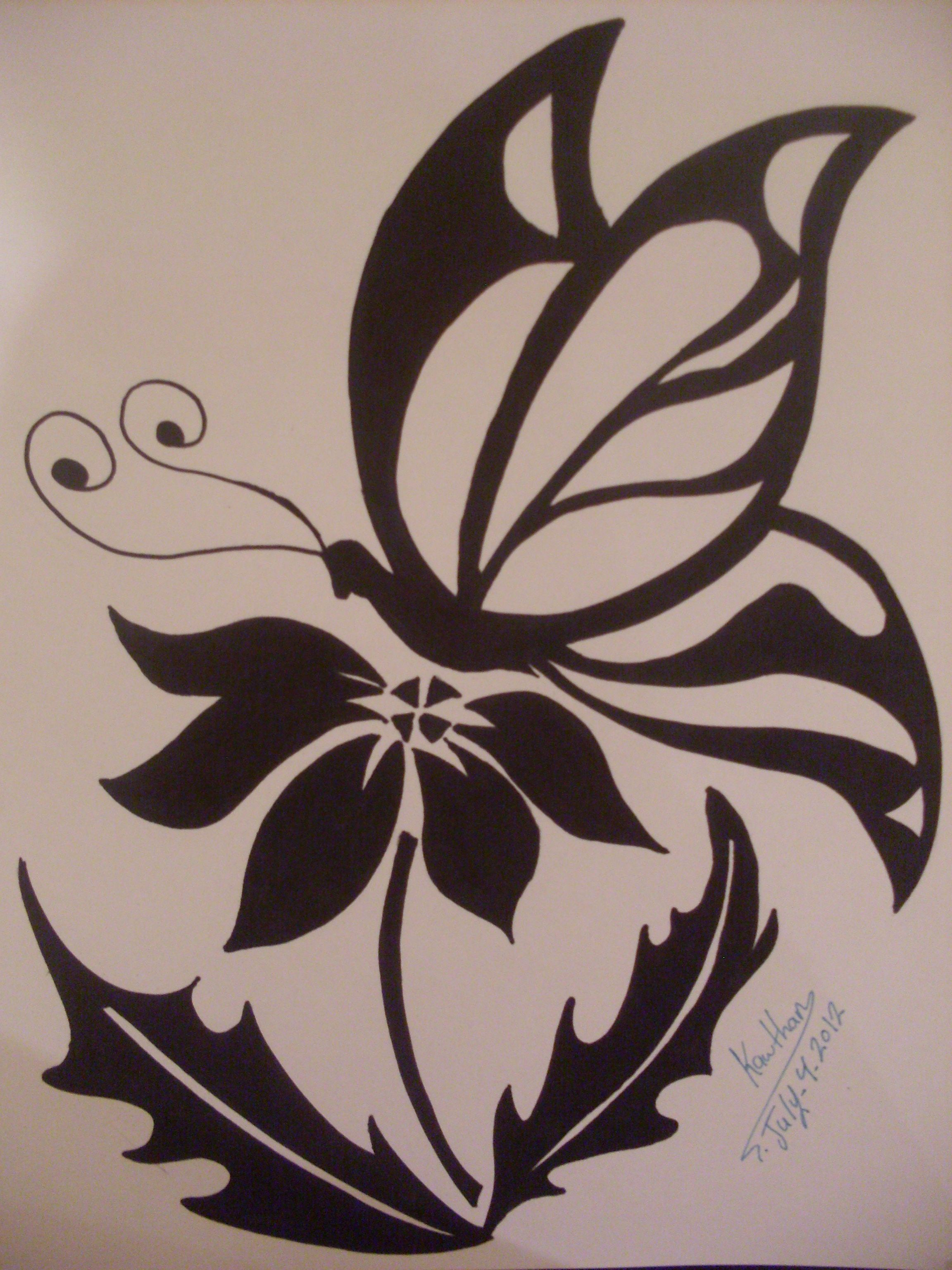 Tribal Drawings Of Roses Butterfly And Flower