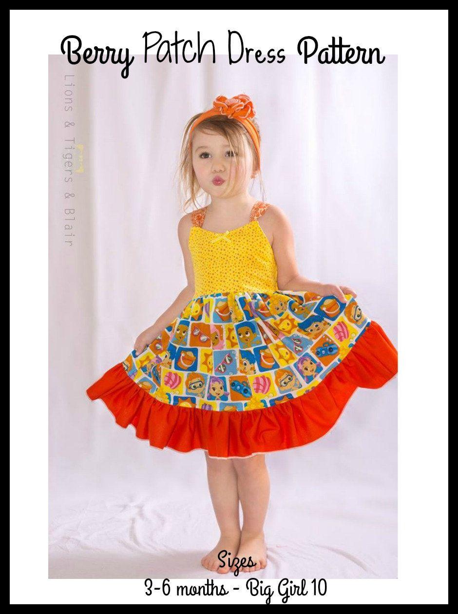 Yellow dress 3-6 months  Girls Berry Patch Dress  PDF Sewing Pattern Sizes  months  Big
