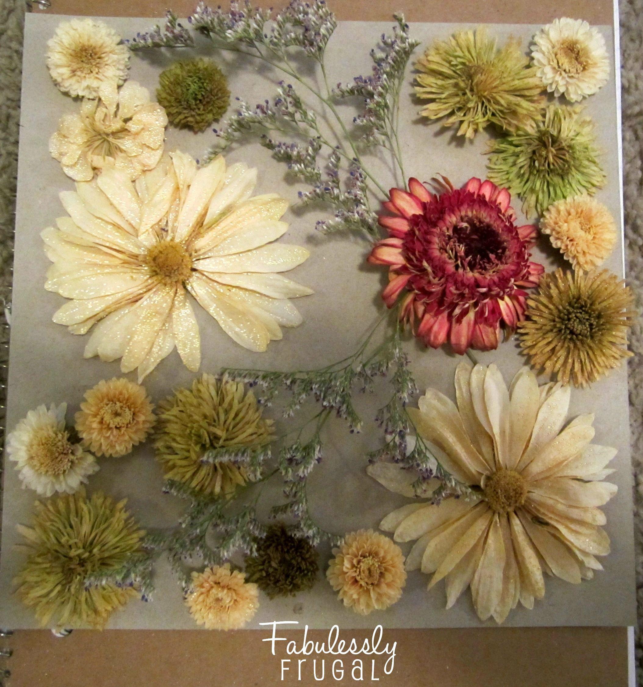 How to scrapbook flowers - Diy Dried Flowers Shadow Box