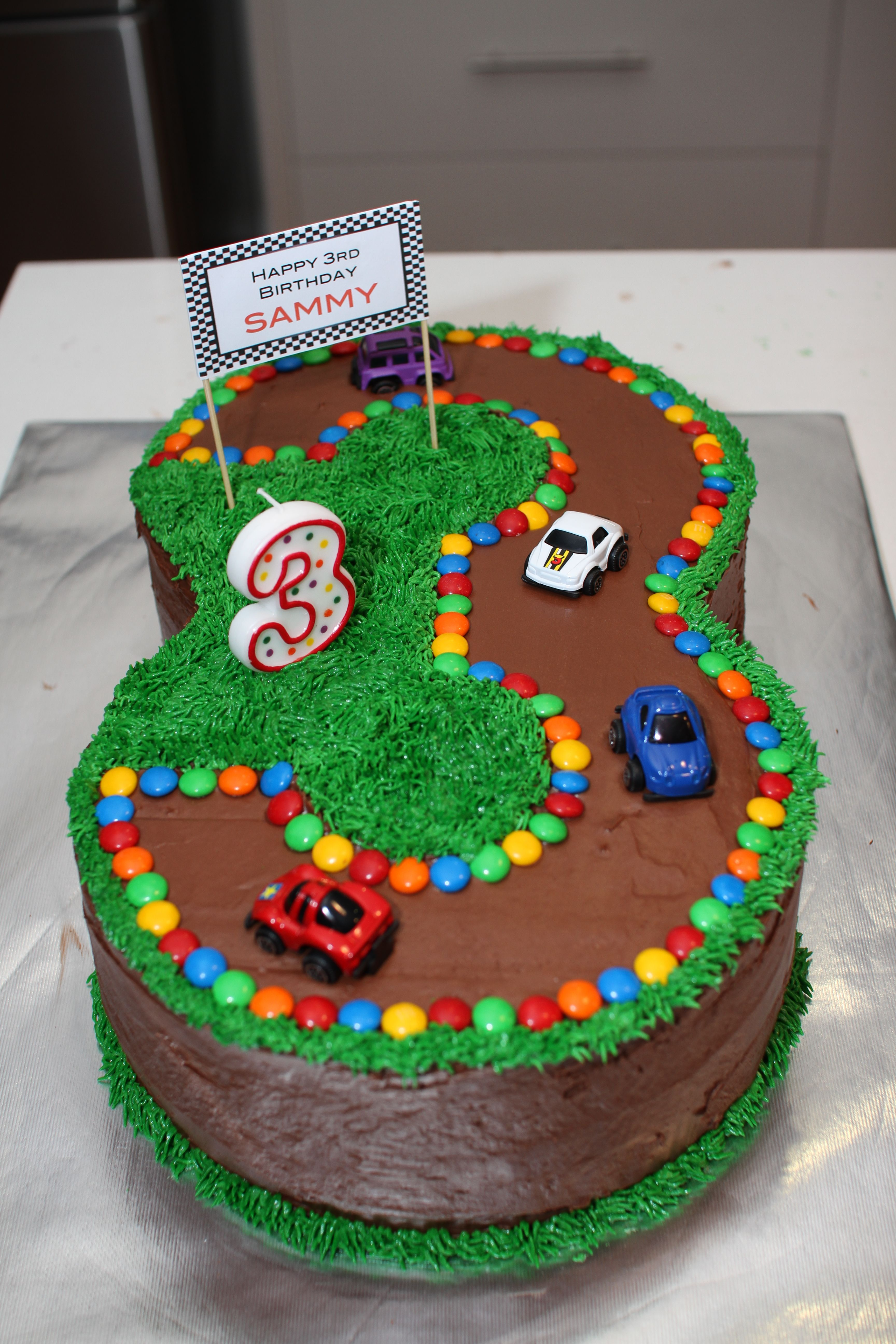 No 3 Race Track Cake For 3rd Birthday