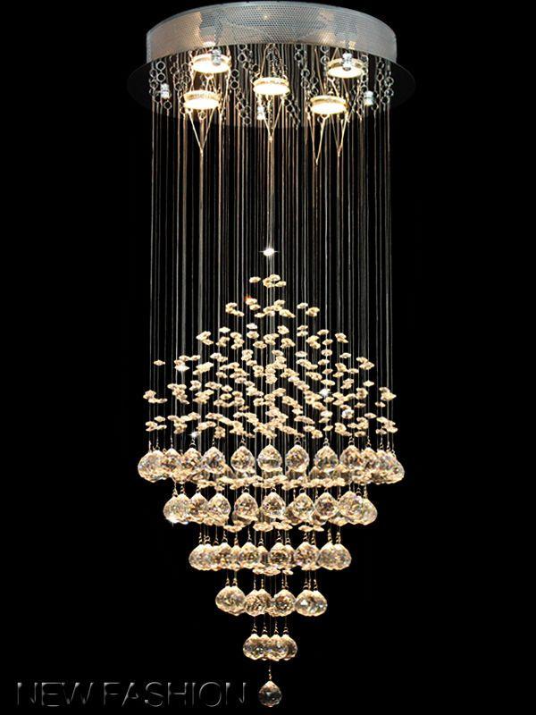 Modern Rain Drop Bridge Wave Ceiling Fixtures Pendant Lamp Crystal