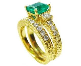 Emerald engagement ring and matching band