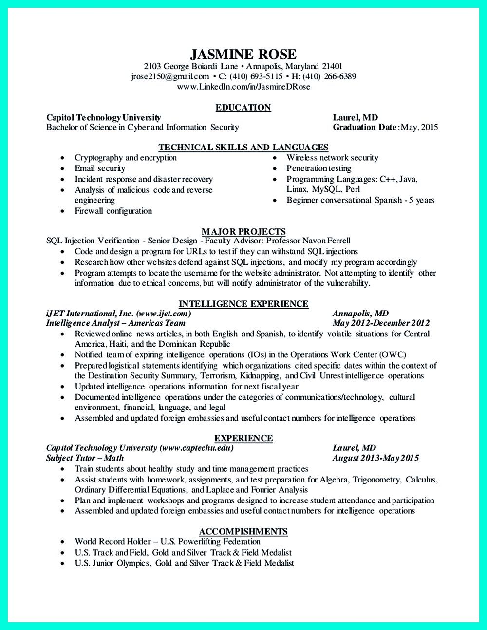 Cyber Security Resume Must Be Well Created To Get The Job Position As What You Want The Job Positions Can Be Many But They Will Not Be Yours As You C Cyber