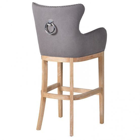 Buy The Grey Studded Barstool With Silver Knocker With Free Delivery From Turnbull And Thomas Grey Bar Stools Contemporary Bar Stools Upholstered Bar Stools