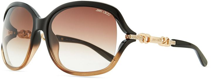 Jimmy Choo Loop Chain-Detail Ombre Sunglasses, Black/Brown on shopstyle.com