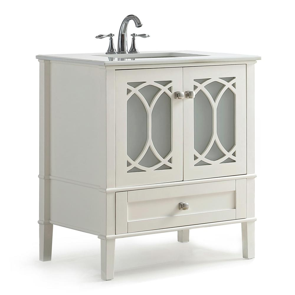 Simpli Home Paige 30 In W X 22 In D X 35 In H Bath Vanity In Soft White With Quartz Marble Vanity Top In White With White Basin Axcvpaw 30 Marble Vanity