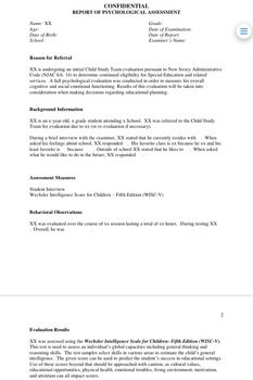 WiscV Report Template  School Psychology Template And Psychology
