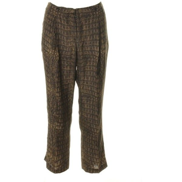Pre-owned Croc pants (499.640 COP) ❤ liked on Polyvore featuring pants, brown, roberto cavalli pants, pleated pants, wide-leg trousers, wide-leg pants and pleated trousers