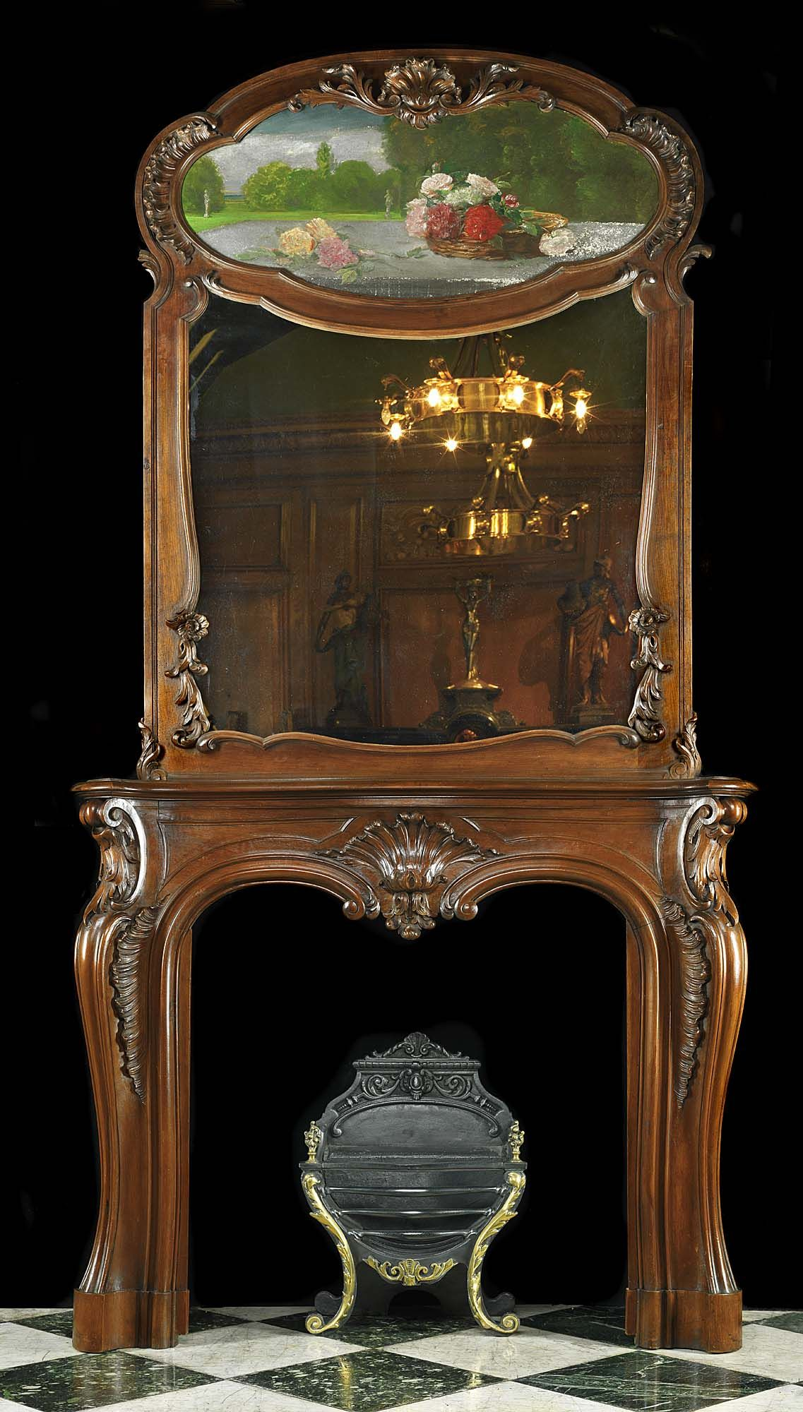 Antique French Fireplace Mantel Amp Trumeau In Walnut With