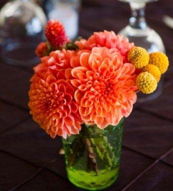 Simple Low Dahlia Arrangement Flower Arrangements Flower Bouquet Wedding Dahlia Centerpiece Wedding