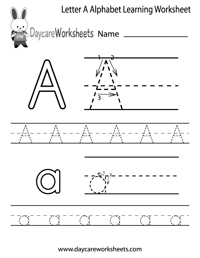 Worksheets Free Printable Alphabet Worksheets For Pre-k free letter a alphabet learning worksheet for preschool plus lots of other great worksheets helping