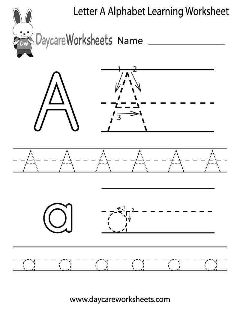 Free Letter A Alphabet Learning Worksheet For Preschool Plus
