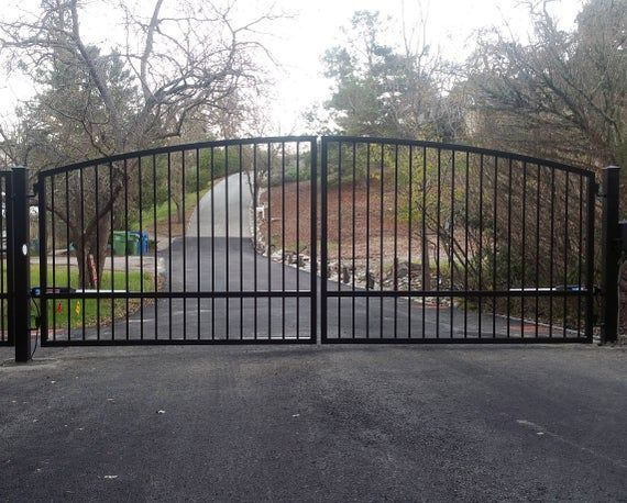 Custom Automatic Wrought Iron Swing Arched Driveway Gate Kit Sale Wooden Wood Metal Steel Se Custom Automatic Wrought Iron Swing Arched Driveway Gate Kit Sale Wooden Wood...