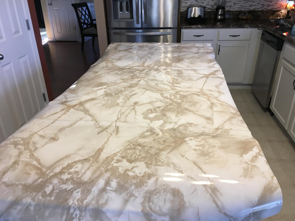 Ez Faux Decor Self Adhesive White And Caramel Waterproof Roll Kitchen Instant Update Marble Or Granite Contact Paper Kitchen Upgrades Contact Paper Contact Paper Countertop