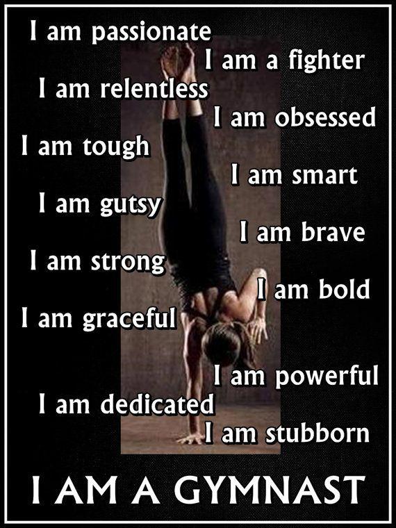 Gymnastics I AM A GYMNAST Quote Inspiration by ArleyArtEmporium, $15.99