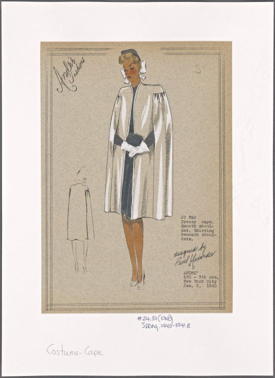 1930s - André - Dressy cape [with s]mooth shoulder [and s]hirring beneath shoulders. From New York Public Library Digital Collections.