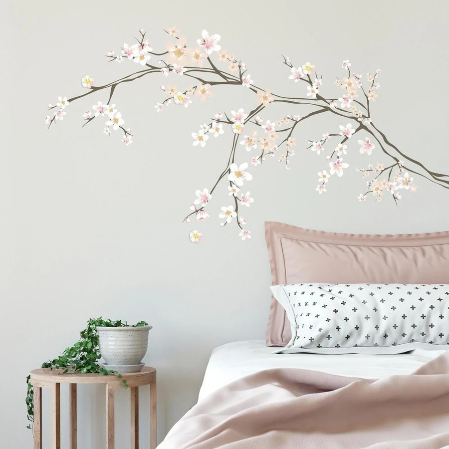Cherry Blossom Branch Peel And Stick Giant Wall Decals With 3d Embellishments Wall Decals For Bedroom Wall Stickers Bedroom Bedroom Wall