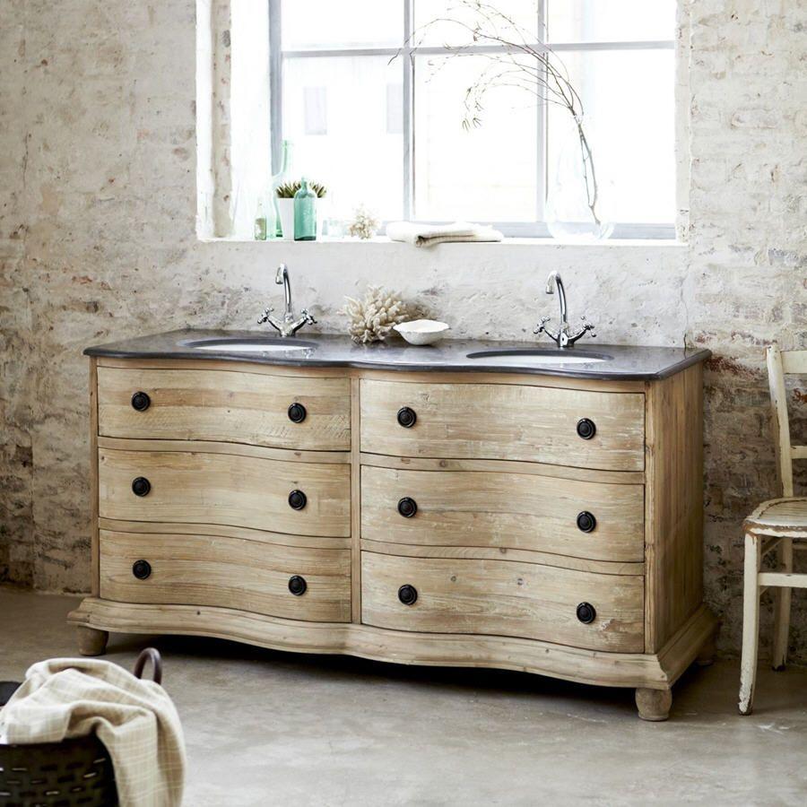 soldes meuble de salle de bain la redoute achat meuble hermione tikamoon avec double vasque en bois de pin 170 prix soldes la redoute 1 61350 ttc au