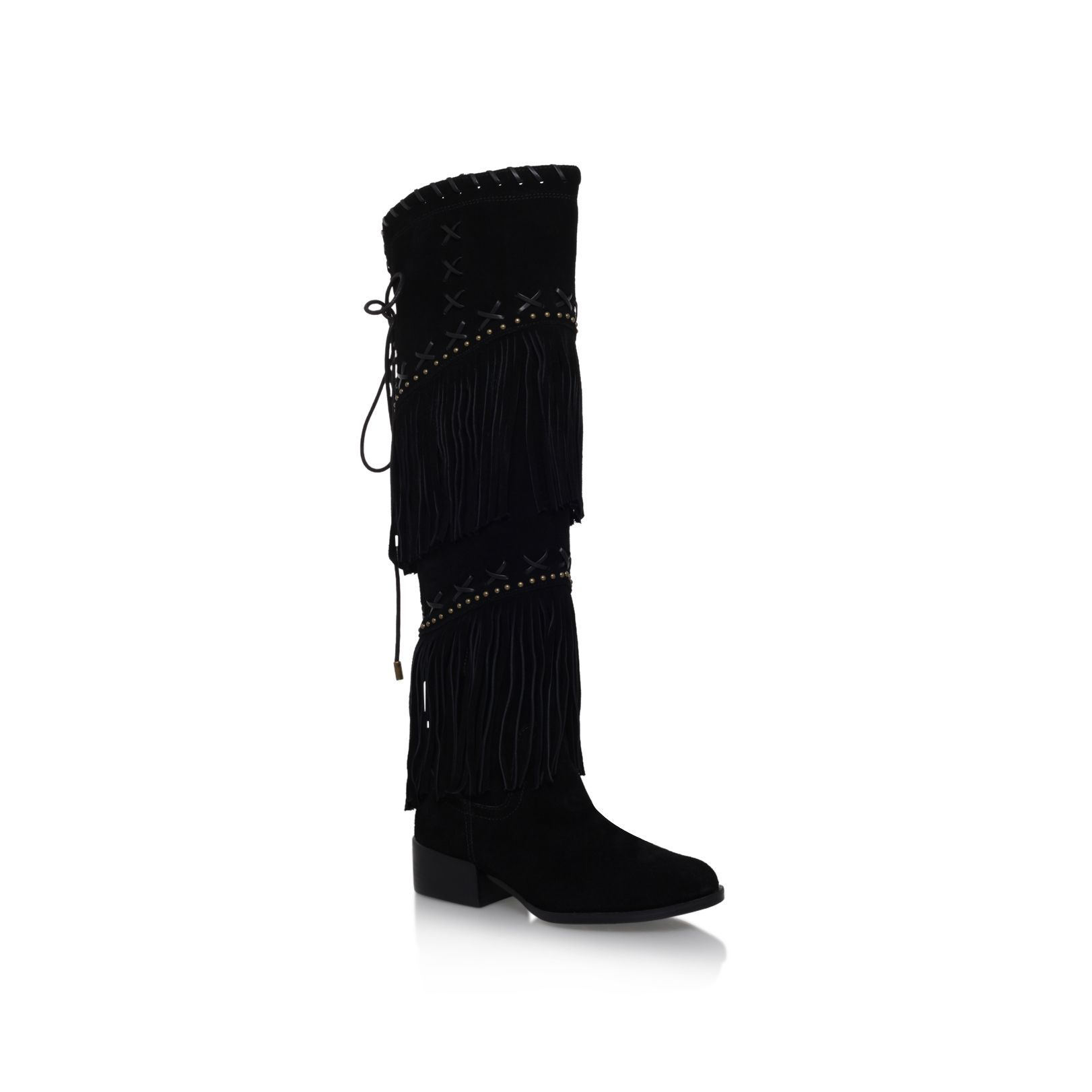 Carvela Whip flat knee high fringe detail boots