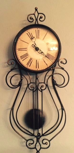 Wrought Iron Pendulum Wall Clock With Vintage Look Face Brushed Gold Finish