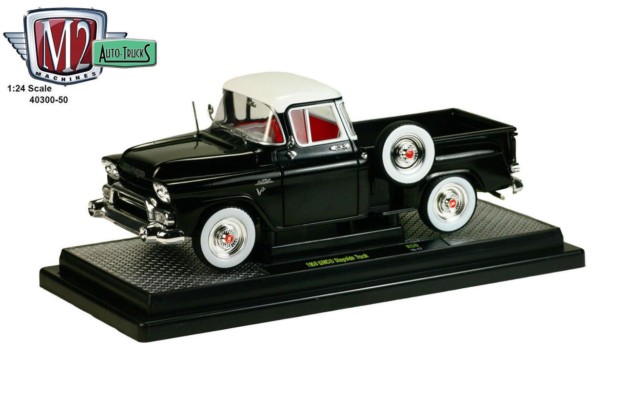 1955 chevy stepside tow truck black jada toys bigtime - Diecast Car Accessory Package 1958 Gmc Stepside Truck Gloss Black Castline Scale Diecast Model Toy Car W Display Case