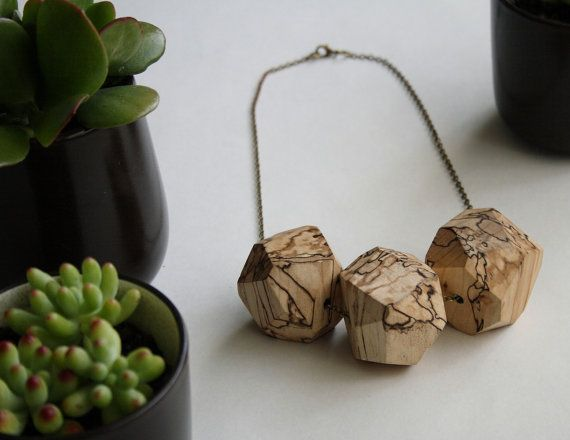 Faceted maple trio necklace by alchemybotanicals on Etsy, $95.00