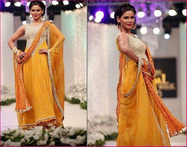 Mehndi Function Dresses 2015 : Latest bridal mehndi dresses collection