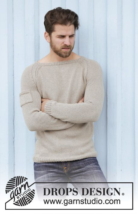 """Knitted DROPS men\'s jumper with raglan in """"Belle"""". Worked top down ..."""
