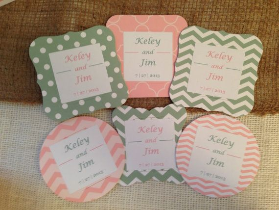 Set of 50 Sparkler Tags: Pink and Sage Collection
