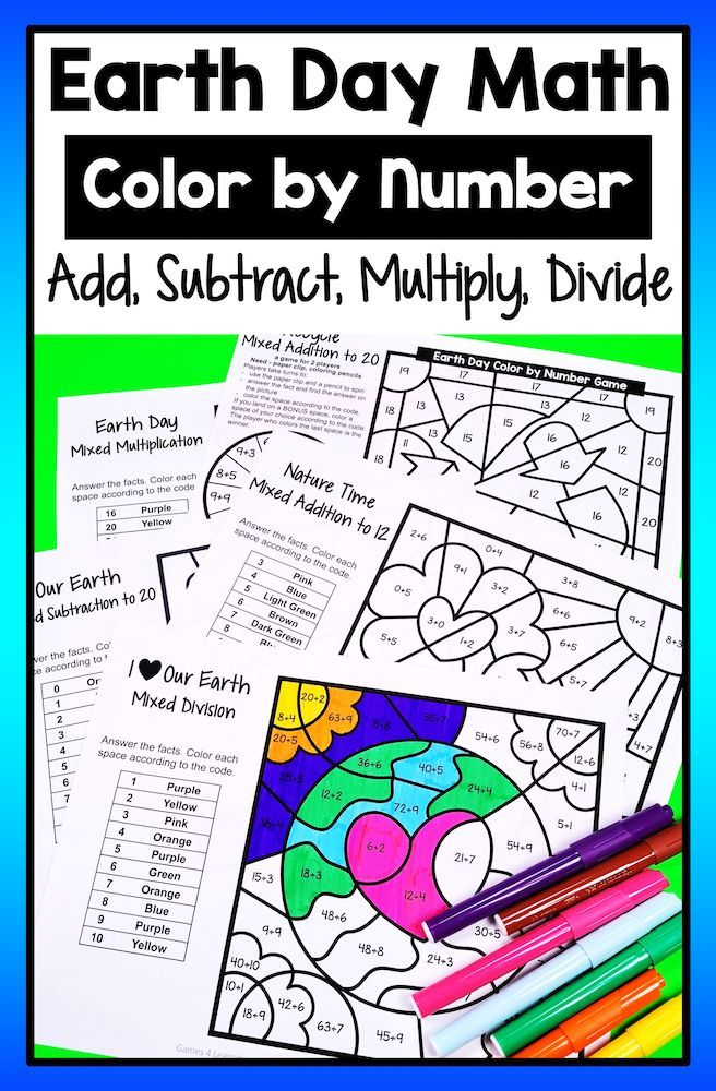 Earth Day Color by Number Earth Day Math Games Math worksheets
