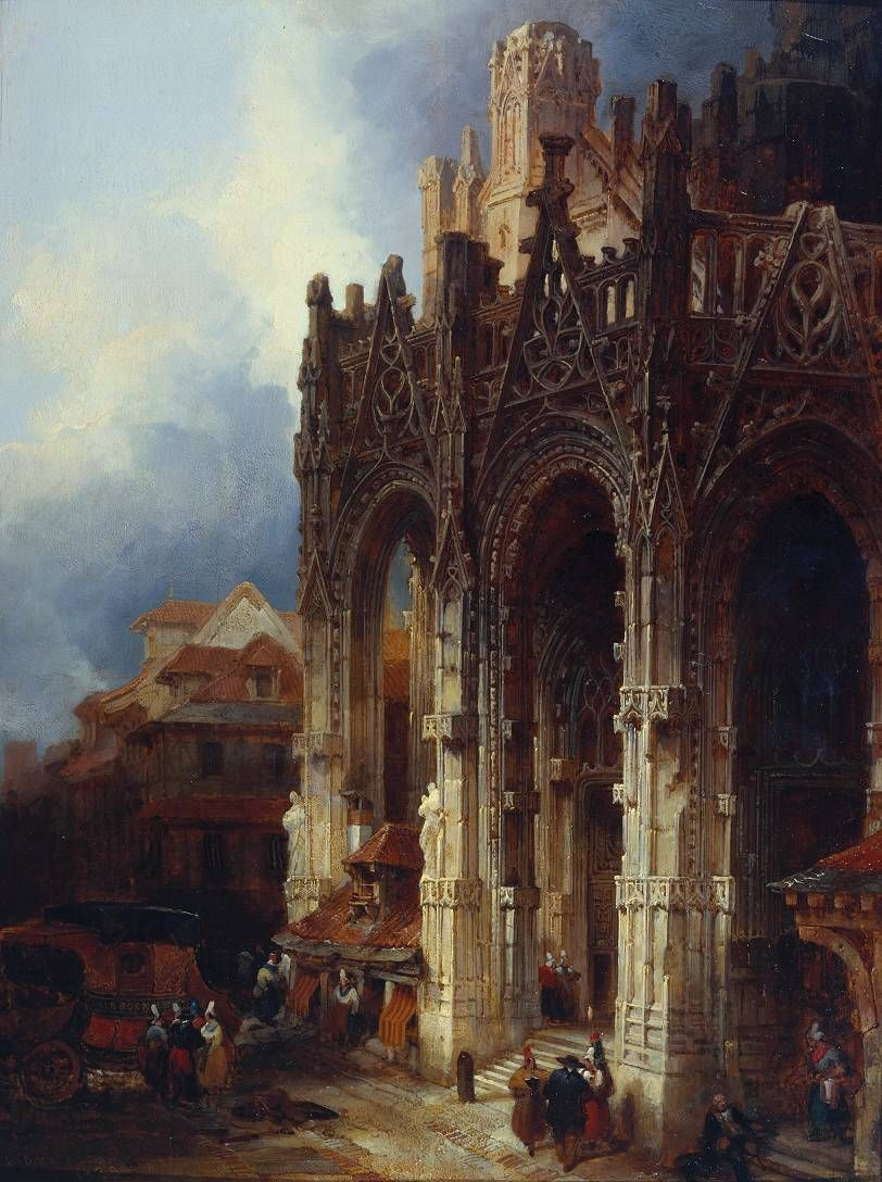 david roberts 1796 1864 the porch of st maclou rouen t rt nelem history. Black Bedroom Furniture Sets. Home Design Ideas