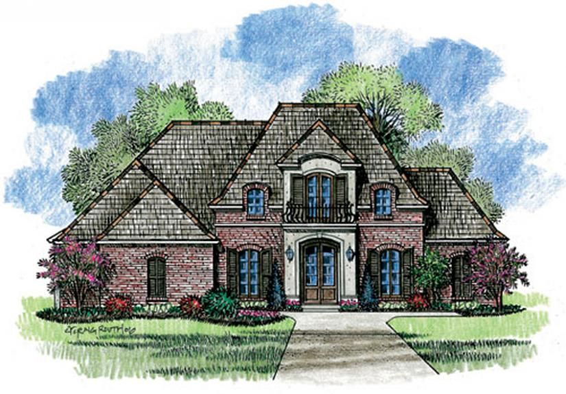 653722 1 story 4 bedroom french country house plan house plans floor