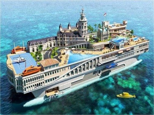 $1.1 Billion Floating City Yacht ❤BEAUTIFUL ❥  #amazingplace #beautiful #houses