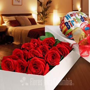 Happy birthday mi amor, caja de rosas para cumpleaños: http://www.floresparacolombia.com/producto_info.php?products_id=528&inicio=167