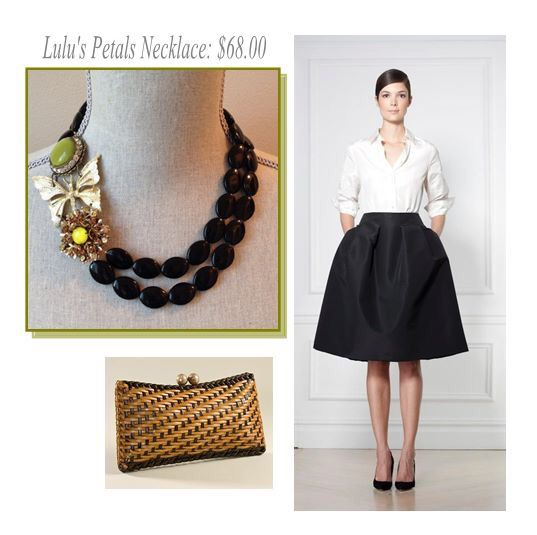 Love this look! Lulu's Petals garden party necklace, made using repurposed vintage brooches, is perfect with this classic black and white Carolina Herrera outfit! Luluspetalsjewelry.com #statementnecklace #blackandwhite