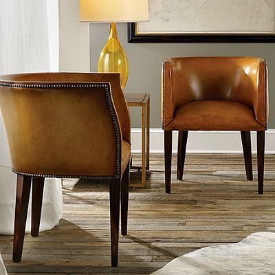 Beautiful Continental Leather Barrel Chair