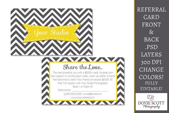 Referral Card Template Front And Back By Doviescottphoto On Etsy 5 59 Referral Card Card Template Referral Cards