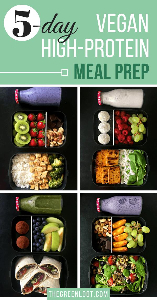 5 Tage einfache, proteinreiche Vegan Meal Prep-Ideen zur Gewichtsreduktion. Leckere Rezepte für