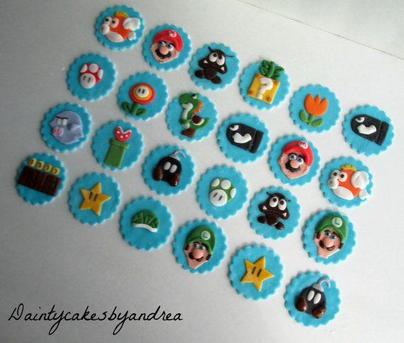 24 Super Mario World Brothers fondant by daintycakesbyandrea