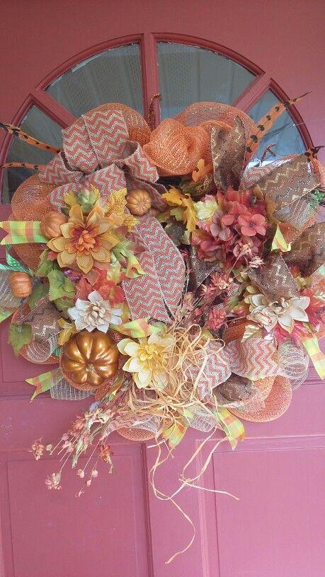 Fall, Autumn Deco Mesh Wreath