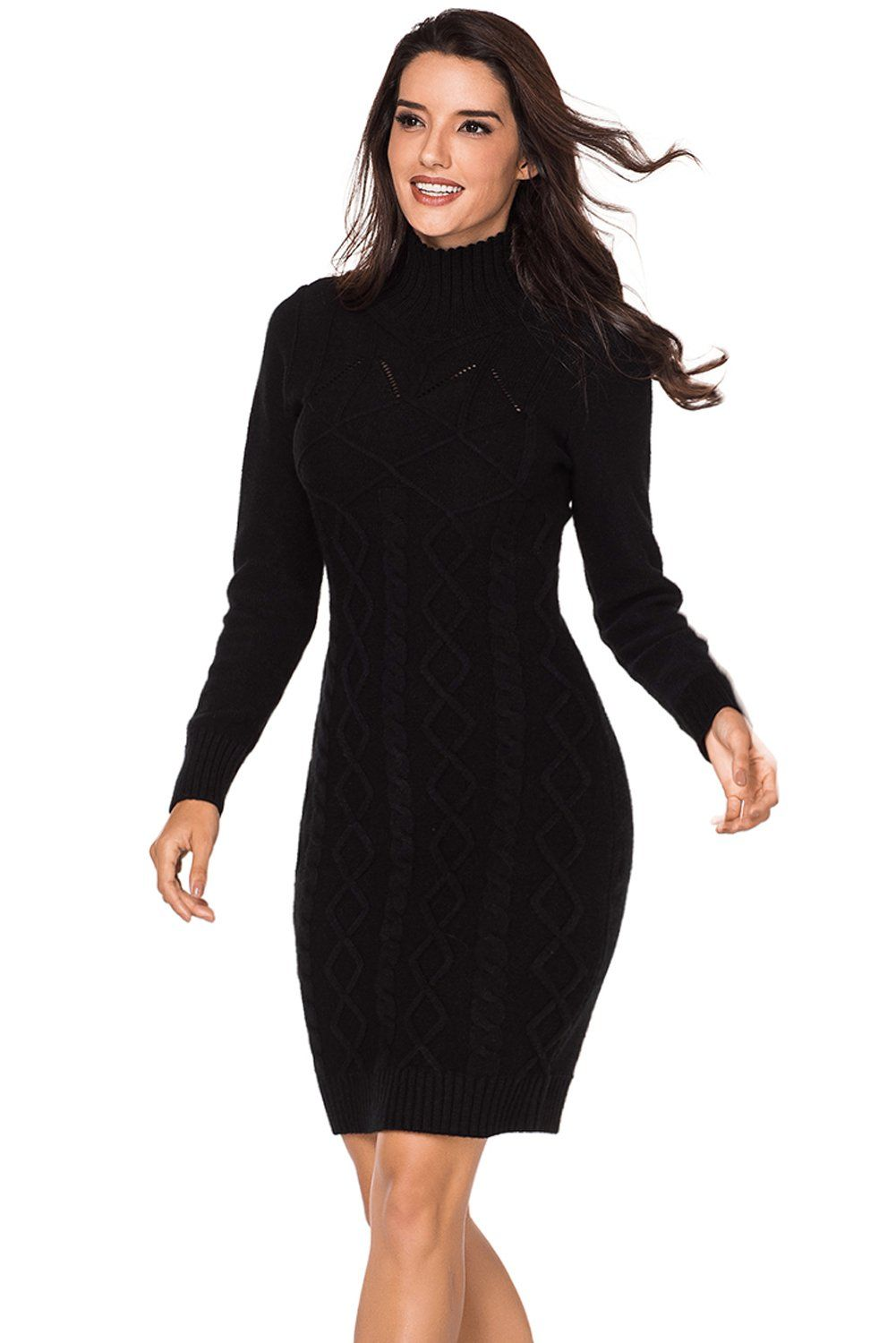 f2148cf0ad95 Robe Pull Femme Hiver Noire Tricot de Cable Col Roule Pas Cher www.modebuy.