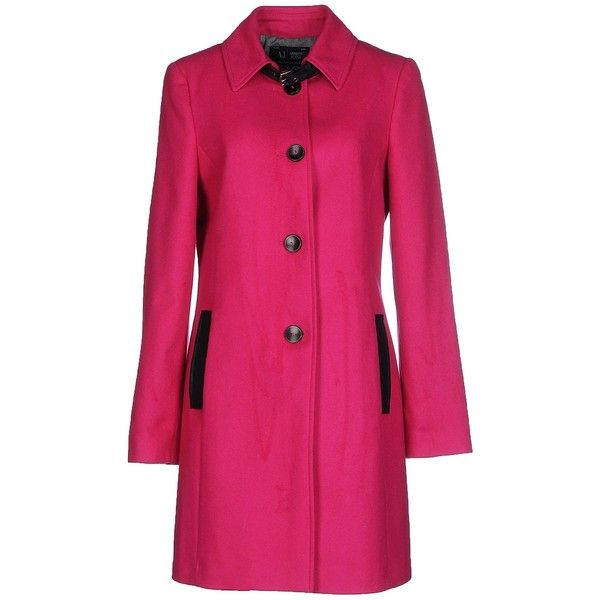 Armani Jeans Coat (7,555 MXN) ❤ liked on Polyvore featuring outerwear, coats, fuchsia, armani jeans coat, single breasted coat, long sleeve coat, flannel coat and pink coat
