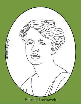 Eleanor Roosevelt Clip Art Coloring Page Or Mini Poster Black