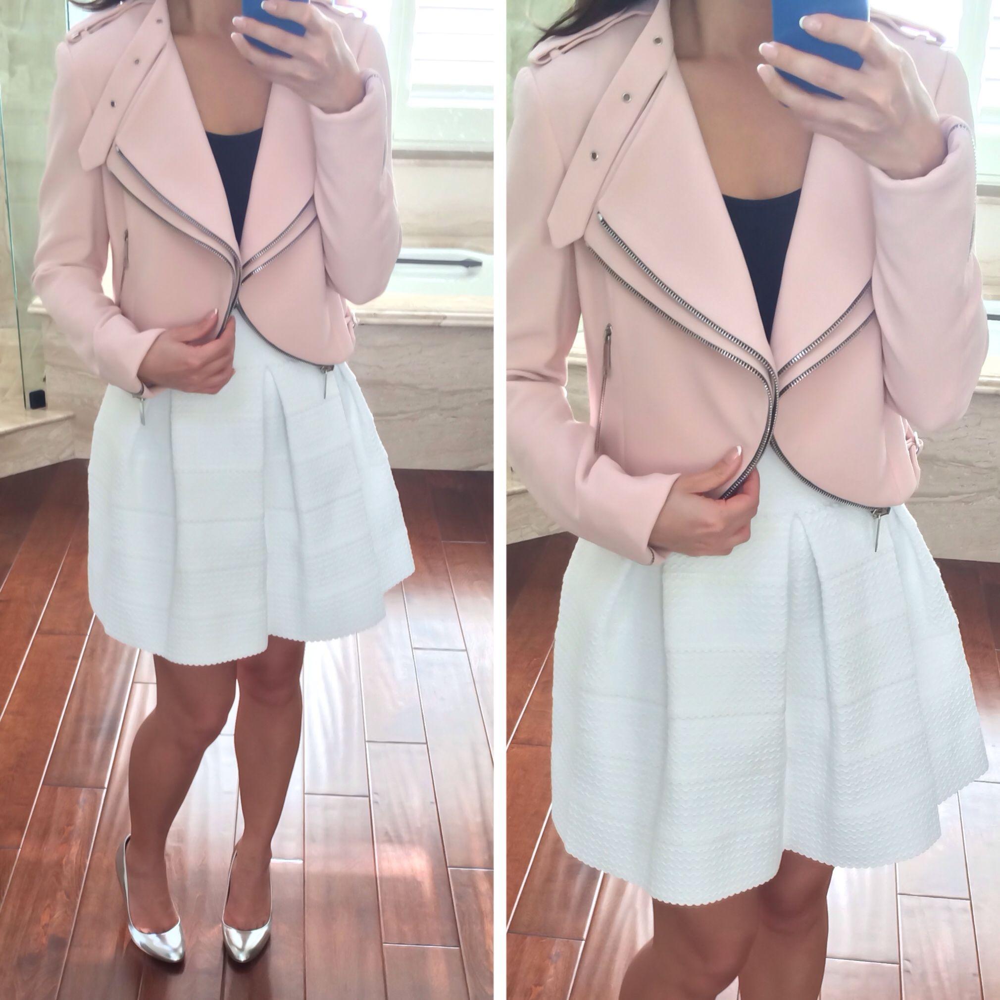 6bd64c43 Zara cropped pastel pink moto jacket with zips // StylishPetite.com ...