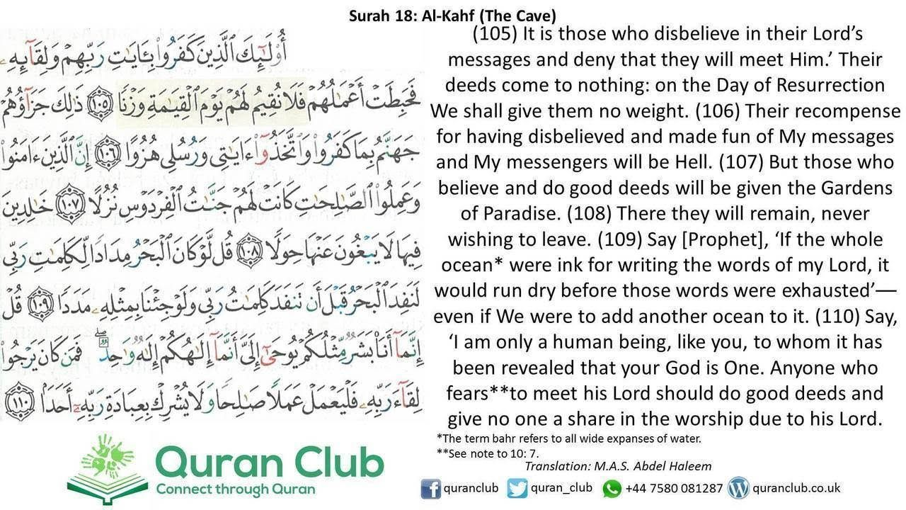 Image Result For Surah Al Kahfi 100 110 Quran Texts