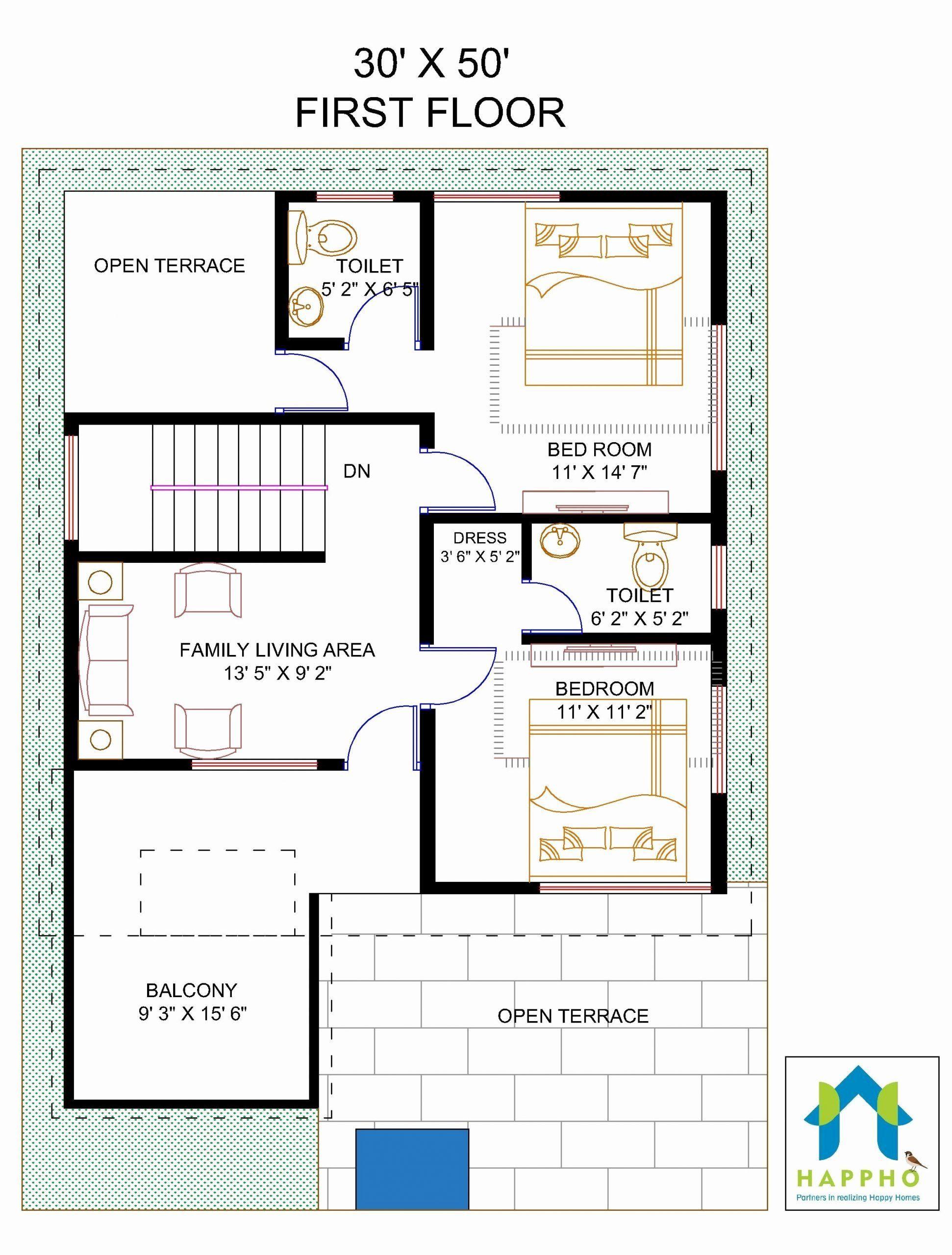 House Plans 1500 Square Feet New Floor Plan For 30 X 50 Feet Plot Square House Plans Unique Floor Plans House Design