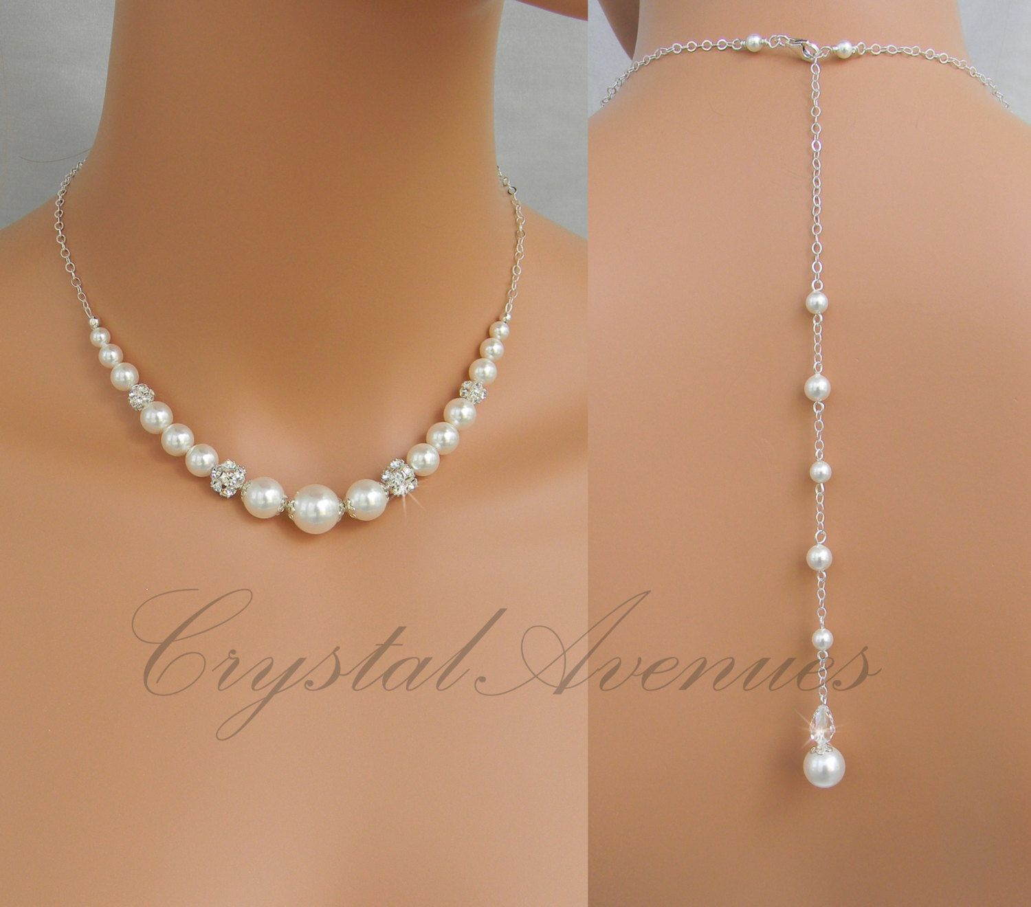 Back drop necklace Pearl Back drop Bridal by CrystalAvenues A