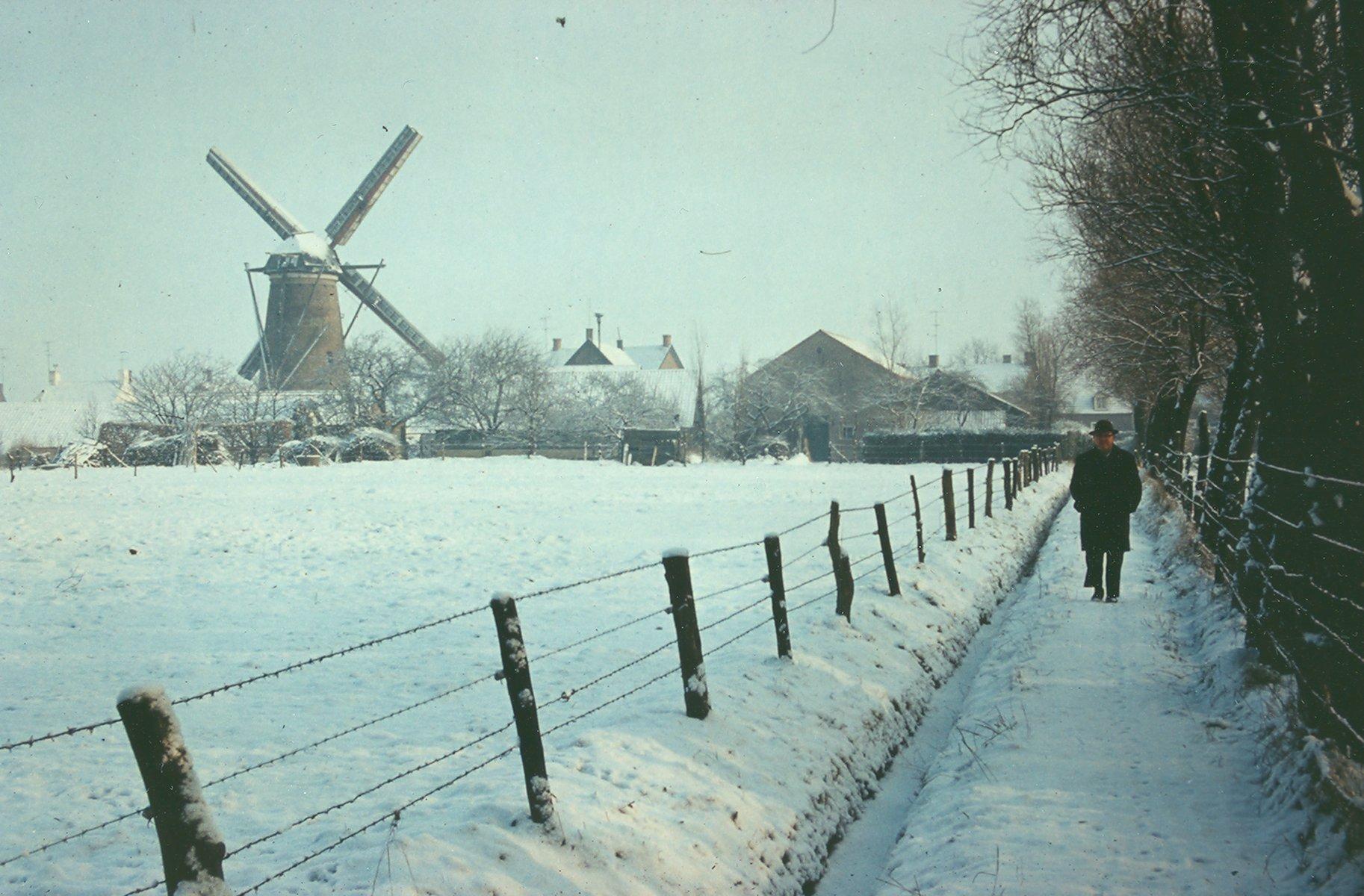 Winters gezicht op de Dorpsstraat met links de windmolen (gezien vanaf het paadje naast De Wielewaal). Foto: G. Vogel.